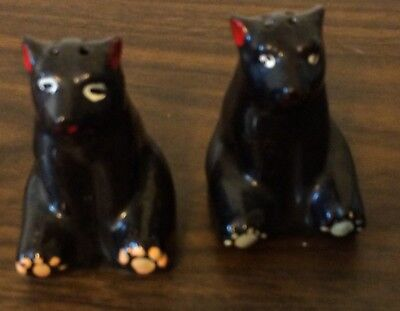 Antique Collectible Salt & Pepper Shakers Black Bears