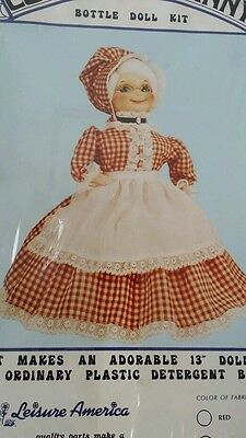 COLONIAL GRANNY BOTTLE DOLL KIT use plastic Detergent Bottle  PINK