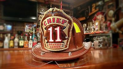 Custom Leather Fire Helmet Shields/Front and Radio Straps - Order Today!