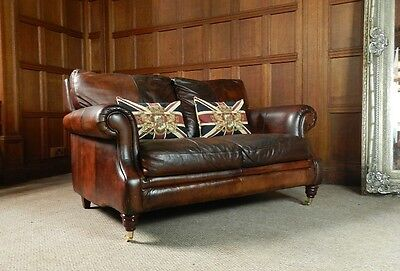 Victorian Style Hand Dyed Cigar Brown Leather 2 Seater Chesterfield Club Sofa
