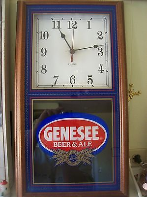 Beautiful 1995 Chapin Genesee Beer Clock Walnut Painted Glass