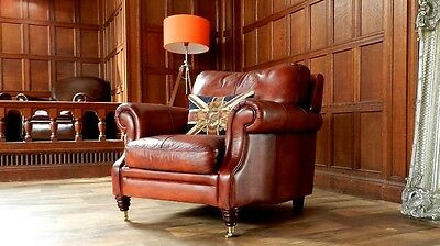 VICTORIAN STYLE CHESTNUT TAN BROWN LEATHER CHESTERFIELD CLUB ARMCHAIR 1 of PAIR