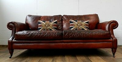 Victorian Style Hand Dyed Russet Brown Leather Chesterfield 3 Seater Club Sofa