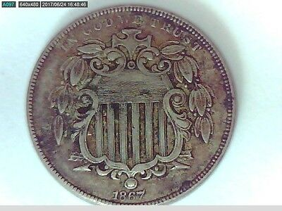 1867 U.S. Shield Nickel(5 cent) coin with rays