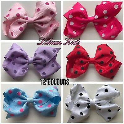 Polka Dot Hair Bows - 4""