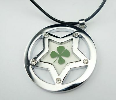 new noble real green four leaf clover five star design  stone pendants mm08