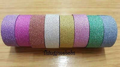 10m x 15mm GLITTER WASHI/STICKY/MASKING TAPE - 8 COLOURS - CRAFTS/CARD MAKING