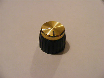 Gold Marshall Knob with grub screw. For smooth shaft pot, JMP etc