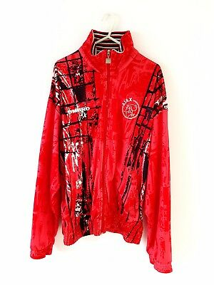 90's Ajax Track Top Jacket. Medium. Umbro. Red Adults Long Sleeves Football Coat