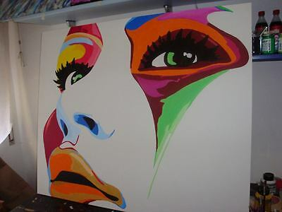 "QUADRO  POP ART ""Color Face""   DIPINTO  a mano120x100 cm"