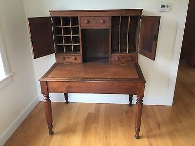 Plantation Desk,19th cent. Walnut w/ leather writing surface. Good condition.