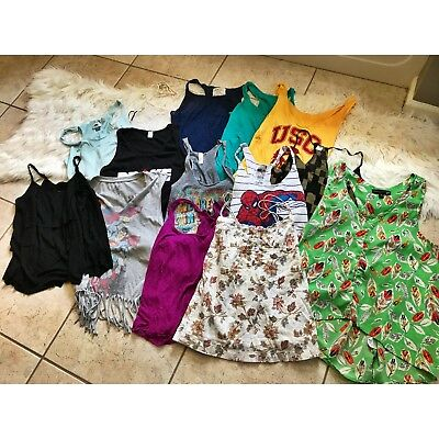 LARGE LOT (15) WOMENS XS SMALL KNIT TANK TOPS A&F Forever 21 Old Navy H&M EUC