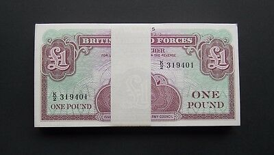 BRITISH ARMED FORCES £1 ONE POUND BANKNOTE 4th SERIES - 100 x CONSECUTIVE BUNDLE