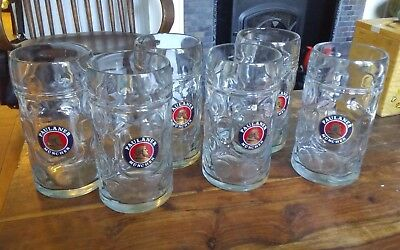Perfect for Octoberfest! Six 1 L Paulaner Munchen dimpled glass Beer Steins