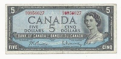 Canada 5 Dollars 1954 VF (1961-72) Beattie-Rasminsky