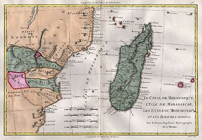 1780 Africa: Mozambique Channel, Madagascar and Monomotapa, by Rigobert Bonne