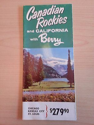 Vintage Canadian Rockies & California With Berry Travel Brochure Large Fold Out