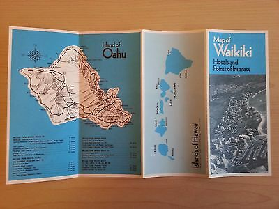 Vintage Map Of Waikiki, Hawaii, With Hotels & Points Of Interest Brochure