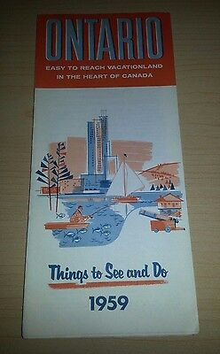 1959 Ontario Canada Vacationland Things To Do/see, Large Fold Out, Royal Visit