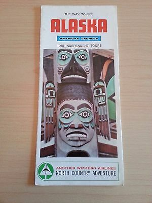 1968 Alaska Travel Brochure American Express, Western Airlines, Fold Out