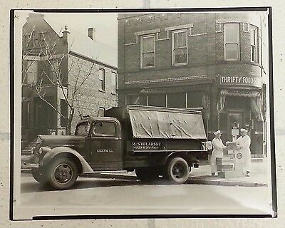White Diesel Delivery Truck Cicero Illinois Vintage B&w Photograph