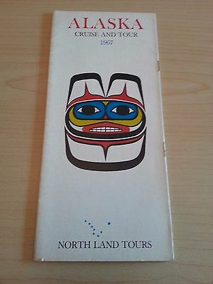 1967 Alaska Cruise & Tour North Land Tours Travel Tourism Brochure Fold Out