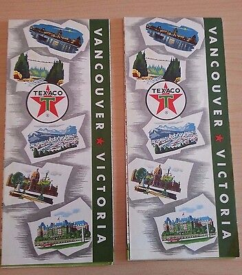 Vancouver & Victoria British Columbia 1963 Texaco Map Fold Outs - Lot Of 2