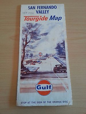 1965 San Fernando Valley Tourgide Map. Gulf Oil. Large Fold Out Map