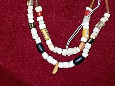 "VERY NICE 34"" STRAND ~ EARLY VENETIAN TRADE & BONE BEADS ~ 1700's-1800's ~ A470"