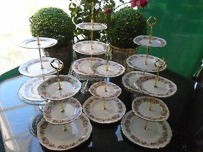 Vintage Colclough Enchantment 6 X 3 Tiered Cake Stands For A Teapot/teaset