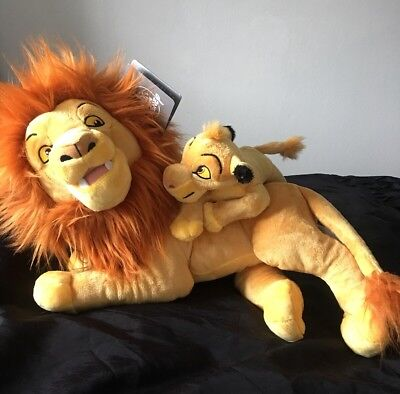 Disney Parks Lion King Mufasa And Simba Plush Soft Toy New With Tags