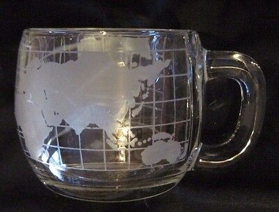 Nestle/ Nescafe Clear Glass Globe World Old Vintage 1970's Cup Mug Coffee Tea