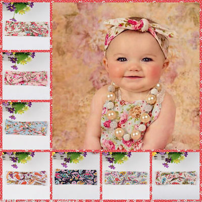Baby Girls Floral Flower Bow Hairband Turban Knot Rabbit Headband Accessories