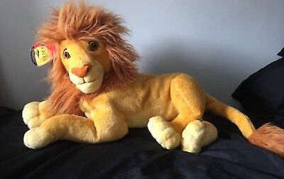 "Disney Lion King Adult Simba Mufasa Large 24"" Huge Mattel Plush Soft Toy New Tag"