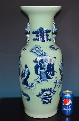 Magnificent Antique Chinese Blue And White Porcelain Vase Rare L7966