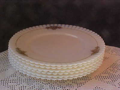 Salad Plates Macbeth Evans Cremax Petalware 6 each Gold Floral Faded on Some