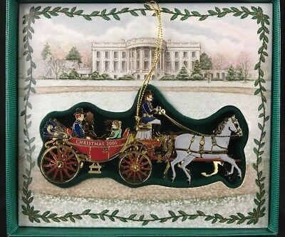 2001 White House Historical Christmas Ornament First Family Carriage Ride