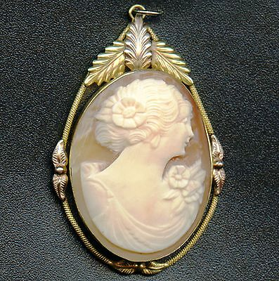 Gold Fill Vintage Cameo Locket / Pendant With Lady ( 12.7 Grams 50 mm x 34 mm )