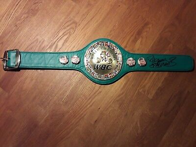 Hand signed  replica Leather Mini WBC  belt by Boxing Legend Manny Pacquiao