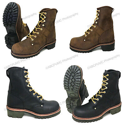 "Mens Logger Boots Leather 10"" Good Year Welt Rugged Work Motorcycle Biker Sizes"