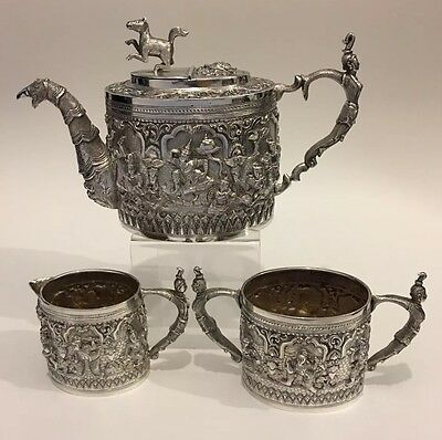 Magnificent Antique Repousse Burmese Silver Tea Set