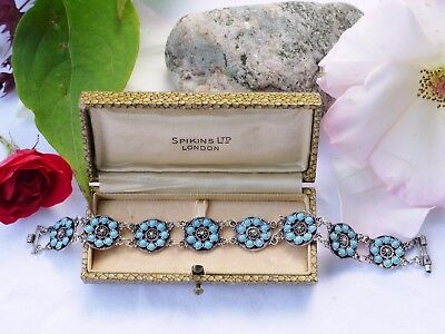A Pretty Dainty Art Deco Turquoise Stone 950 Sterling Silver Bracelet