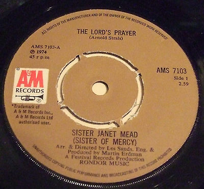 Sister Janet Mead 1974 Uk 45 - The Lord's Prayer