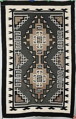Early Navajo rug, blanket Native American textile, weaving Two Grey Hills 46X71