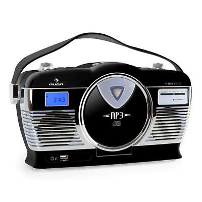 Auna Classic Black Portable Cd Player Usb Vintage Stereo Speaker System