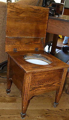 Antique Oak Commode Original Pot Wood Chamber Pot Enamel Porcelain