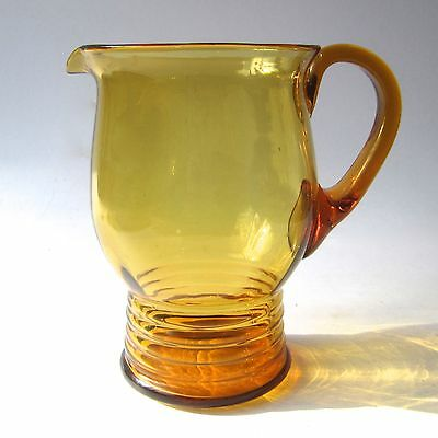 Art Deco Glass Jug Pitcher Hand Blown Amber Glass Bubbles Ribbed Base H18cm 30s