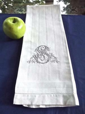 Antique Damask Huck Linen Bath Towel 17x34 FAB Hand Embroidered Gray Monogram S