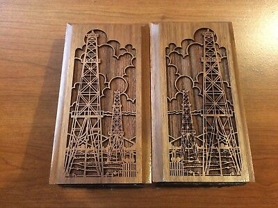 Wooden Bookends Carved--Oil Rig Towers