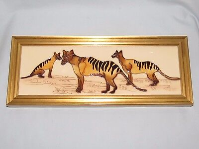 Moorcroft Australian Exclusive Tasmanian Tigers Plaque BOXED BEST SIGNED